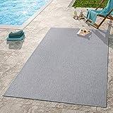 TT Home Moderner Outdoor Teppich Wetterfest Für Innen- Und Außenbereich Einfarbig In Grau, Größe:200x350 cm