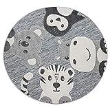 Paco Home Kinderteppich Kinderzimmer Outdoor Teppich Rund Spielteppich Modern 3D Effekt, Grösse:Ø 120 cm Rund, Farbe:Grau 3
