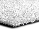 casa pura Kunstrasen Premium Color • Weicher Flor 25 mm • UV-beständig  6000 h & wasserdurchlässig • Rasenteppich Meterware • Teppichrasen für Balkon, Terrasse, Deko (weiß, 100x100 cm)