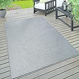 Paco Home In- & Outdoor Teppich, Terrasse u. Balkon, Wetterfest Einfarbig Mit Struktur, Grösse:120x160 cm, Farbe:Grau