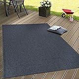 Paco Home In- & Outdoor Flachgewebe Teppich Terrassen Teppiche Natürlicher Look Navy Blau, Grösse:300x400 cm
