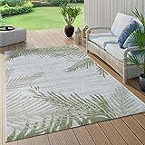 Paco Home In- & Outdoorteppich Beige Grün Palmen Design Balkon Terrasse Robust Wetterfest, Grösse:240x340 cm
