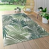 Paco Home In- & Outdoor Teppich Flachgewebe Jungel Gecarvtes Florales Palmen Design Grün, Grösse:80x150 cm