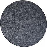 Shaggy Teppich Eco rund - Farbe wählbar | schadstoffgeprüft pflegeleicht schmutzresistent robust strapazierfähig Wohnzimmer Kinderzimmer Schlafzimmer Küche Flur, Farbe:Silber, Größe:100 cm rund