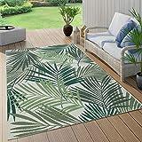Paco Home In- & Outdoor Teppich Terrasse Balkon Küchenteppich Florale Und Geometrische Muster, Grösse:60x110 cm, Farbe:Grün