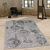 Paco Home In- & Outdoor Teppich Vintage Design Rautenmuster Flachgewebt In Grau, Grösse:80x150 cm